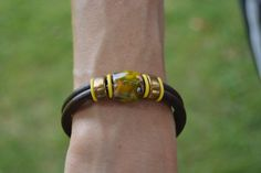 Leather and enameled copper bracelet by Kisses4CarrotsDesign