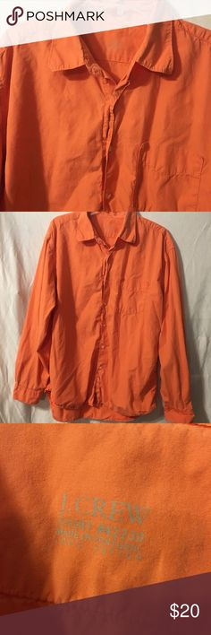 """J Crew Shirt J.Crew shirt  #42230 100% cotton  size large Lightweight Solid orange Chest is 26"""" across Length is 33"""" J. Crew Shirts Casual Button Down Shirts"""