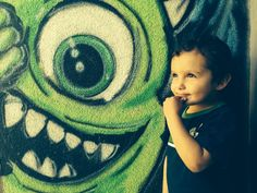 Ari next to his favorite monster in freak alley