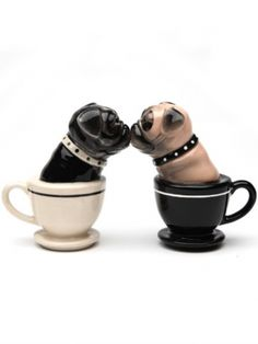 """Tea Cup Pugs"" Salt and Pepper Set by Pacific Trading"