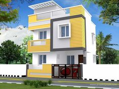 Home Design and Decor: Duplex House Front Elevation Designs Country House Design, Simple House Design, House Front Design, Modern House Design, Door Design, Bungalow Haus Design, Duplex House Design, Independent House, Duplex House Plans