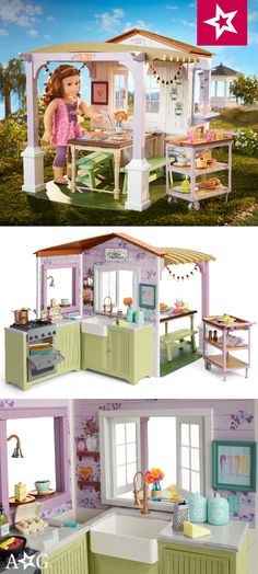 restaurant kitchen Blaire loves testing recipes in - American Girl Kitchen, American Girl Diy, Ag Dolls, Girl Dolls, Mom's Restaurant, Diy Doll, Girl Room, Girl Birthday, Doll Clothes