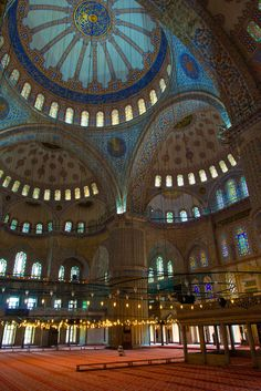 Blue Mosque Interior - The Sultan Ahmed Mosque is a historic mosque in Istanbul. The mosque is popularly known as the Blue Mosque for the blue tiles adorning the walls of its interior. Islamic Architecture, Beautiful Architecture, Beautiful Buildings, Art And Architecture, Hagia Sophia, Beautiful Mosques, Beautiful Places, Beautiful Pictures, Places Around The World
