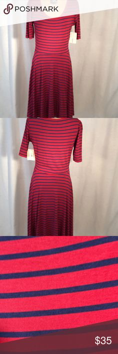 Dress Lularoe Nicole dress with three quarter sleeves, cranberry and navy stripe print. 95% Rayon and 5% spandex. Soft  T- shirt feel material. LuLaRoe Dresses Midi