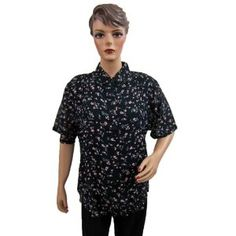 Navy Blue Floral Printed Blouse Designer Button Down Shirt Tunic Top Large Size for Womens (Apparel)  http://www.picter.org/?p=B007NVCZWK