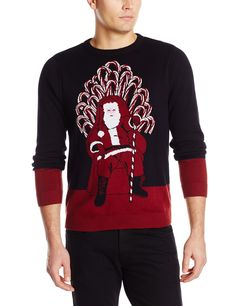 Alex Stevens Men's Santa's Candy Cane Throne Ugly Christmas Sweater, Black Combo, Medium
