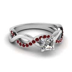 asscher cut diamond engagement ring with ruby in 14K white gold FD1122ASRGRUDR NL WG GS