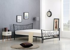 ClassicLiving Metallbett Tylersburg, 120 x 190 cm Bed Frame With Mattress, Upholstered Bed Frame, Upholstered Ottoman, Leather Headboard, Wood Headboard, Tv Beds, Wooden Bed Frames, Water Bed, Ottoman Bed