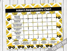 Boy Chore chart, Chore Chart for kids, Construction Chore Chart, Incentive, Allowance Chart, Weekly Chart, Behavior Chart, YOU EDIT PDF by SugarPickle Designs, $5.00 USD
