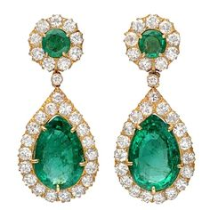 green stones / crystals /  gold / earrings