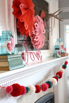 the pom pom mantle decoration! Valentine's decor from the Pleated Poppy My Funny Valentine, Saint Valentine, Valentines Day Party, Valentines Day Decorations, Valentine Day Crafts, Happy Valentines Day, Holiday Crafts, Holiday Fun, Happy Hearts Day