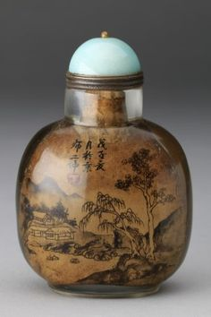 Circa 1960\u2019s Vintage Chinese import hand painted ceramic snuff bottle a scenery of mountains and trees and a big bird In black and white