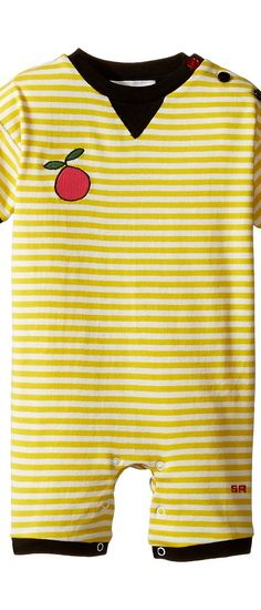 Sonia Rykiel Kids Short Sleeve Striped Romper w/ Fruit Patch Detail (Infant) (White/Yellow) Girl's Jumpsuit & Rompers One Piece - Sonia Rykiel Kids, Short Sleeve Striped Romper w/ Fruit Patch Detail (Infant), 47261712-31-107, Apparel One Piece Jumpsuit & Rompers, Jumpsuit & Rompers, One Piece, Apparel, Clothes Clothing, Gift, - Street Fashion And Style Ideas