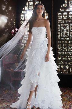 Strapless Organza High Low Ruffle Skirt Gown- Wedding dress