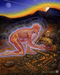 """Panel 2 - """"Along the path, Death, Mirror of future collapse. Animal powers surround and protect The teacher as a Corpse. The teaching is taken. The Sun emerges. Book of the Dead Direct me, Resurrect me."""" - by artist Alex Grey Alex Grey, Alex Gray Art, Psy Art, Visionary Art, Surreal Art, Dark Art, Fractals, Minions, Fantasy Art"""