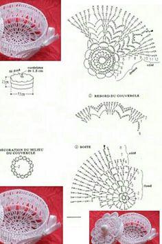 Lace tea-cup by Miss Rose Sister Violet. lace teacup for party decor . Diy Crochet Basket, Crochet Bowl, Crochet Dollies, Crochet Basket Pattern, Quick Crochet, Easter Crochet, Crochet Chart, Thread Crochet, Crochet Motif