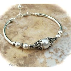 Antiqued filigree sterling silver bangle bracelet