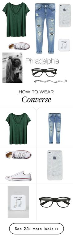 """""""Philadelphia"""" by mariafe1231 on Polyvore featuring H&M, Converse, Happy…"""