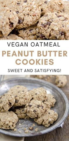 Looking for oil-free, healthy cookies? Sweet, satisfying vegan oatmeal peanut butter cookies—no one will know they are oil-free! Save this vegan cookie recipe for later. Best Vegan Cookies, Healthy Cookies, Yummy Cookies, Vegan Baking Recipes, Almond Recipes, Vegan Desserts, Vegan Treats, Chunky Peanut Butter, Peanut Butter Cookies