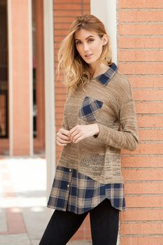 SHEER LONG SLEEVE SWEATER WITH ATTACHED FLANNEL COLLAR AND LINING  100% ACRYLIC KNIT  Product Code: ADA3014