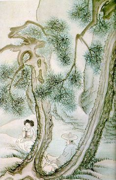 (Korea) Man and woman under pine tree by Shin Yun-bok ? Korean Art, Asian Art, Korean Painting, Modern Pictures, Pine Tree, Conceptual Art, Chinese Art, Art Images, Art Museum