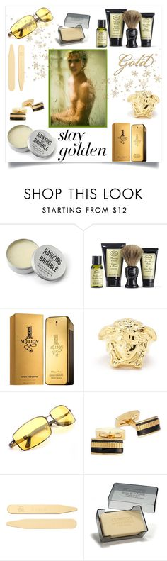 """""""Stay Golden"""" by freida-adams ❤ liked on Polyvore featuring beauty, Hawkins & Brimble, The Art of Shaving, Paco Rabanne, Versace, Hickey Freeman, Jan Leslie and Clinique"""