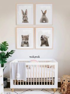 Woodland Nursery Baby Animals. Mints Prints - printable art. Decorate your walls instantly! Bunny print and Wolf Print