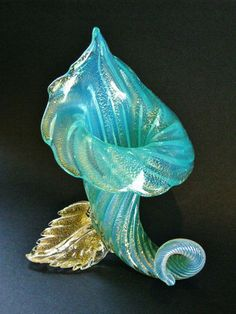 Murano Glass Cornucopia Vase -  features teal glass that is slightly opaque/milky, with loads of gold leaf inclusions.