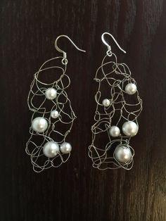 Knitted Silver Wire Pearl Chandelier Earrings Dangle by CatDKnits
