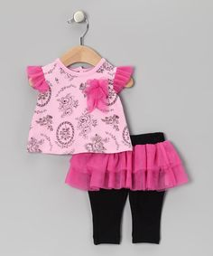 Take a look at this Pink Floral Angel-Sleeve Top & Skirted Leggings - Infant by Vitamins Baby on #zulily today!