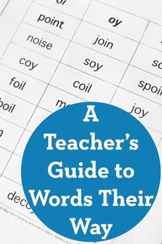 A Teacher's Guide to Words Their Way