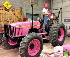 My pink tractor Pink Tractor, Female Farmer, Everything Pink, Breast Cancer Awareness, Hot Wheels, Pretty In Pink, Pink Cars, Farming, Trains