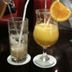 Orange juice and cappucino