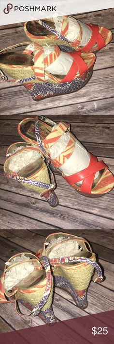 London Rebel Wedges Size 8 coral and navy butterfly design wedges. Platform is 2 in., heel 6in. Shoes Espadrilles