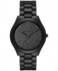 ca1bf924a Michael Kors Women's Slim Runway Black Ceramic Bracelet Watch 42mm MK3449 -  Watches - Jewelry &