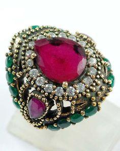 Pear Design Ruby Emeralds Gem/Gemstone Ring Solid by ernestosaks