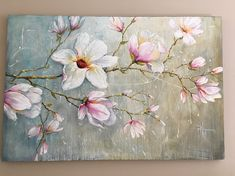 Magnolia Blossoms - Wall Art Floral Oil hand painted Painting On Canvas By Paula Nizamas painting subjects Magnolia Blossoms large hand painted floral oil painting on canvas by Nizamas Large Painting, Oil Painting On Canvas, Canvas Art, Painting Doors, Oil Painting Flowers, Interior Painting, Magnolia Paint, Magnolia Flower, Art Mural