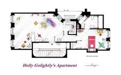 Holly Golightly's apartament floor plan. Breakfast at Tiffany's