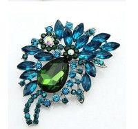 Vintage Style Flower Drop Brooch Pin Rhinestone Crystal Floral Pendant  Crystal Rhinestone ab0058842aa9