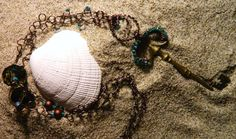 Wire wrapped key charm on hand made chain by BeachinJewelry, $30.00