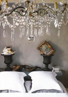 Home design house design design room design decorating before and after Chandelier Bougie, Chandelier Lighting, Crystal Chandeliers, French Chandelier, Chandelier Bedroom, Crystal Bedroom, Chandelier Makeover, Crystal Garland, White Chandelier