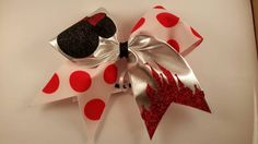 Hey, I found this really awesome Etsy listing at https://www.etsy.com/listing/221132423/minnie-mouse-cheer-bow-with-red-glitter
