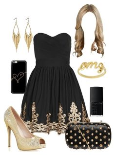 """""""Black & Gold #2"""" by briony-jae ❤ liked on Polyvore featuring NARS Cosmetics, Sterling Essentials, TFNC, Dorothy Perkins, women's clothing, women, female, woman, misses and juniors"""