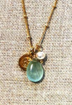 Moss Aquamarine Om Necklace