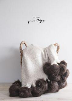 diy faux fur pom pom throw