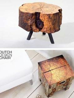 log dining chairs and wooden stools, modern log furniture for interior decorating