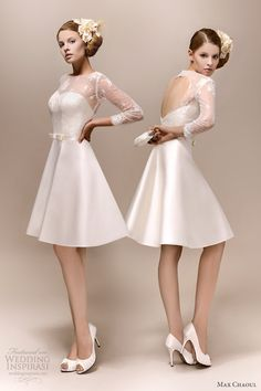 max chaoul bridal 2013 romy 1960 short wedding dress long lace sleeves rehearsal  dress
