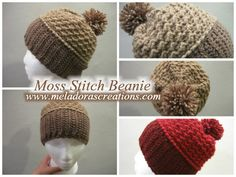 Moss Stitch Beanie crochet pattern and tutorial