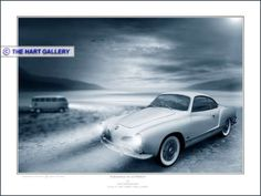 A digital art painting of a Volkswagen Karmann Ghia.  #VW #Volkswagen #KarmannGhia #ClassicCars