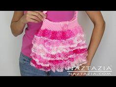 ▶ DIY Learn To Crochet Ruffle Yarn Purse - Sashay, Starbella, Ruffles - YouTube